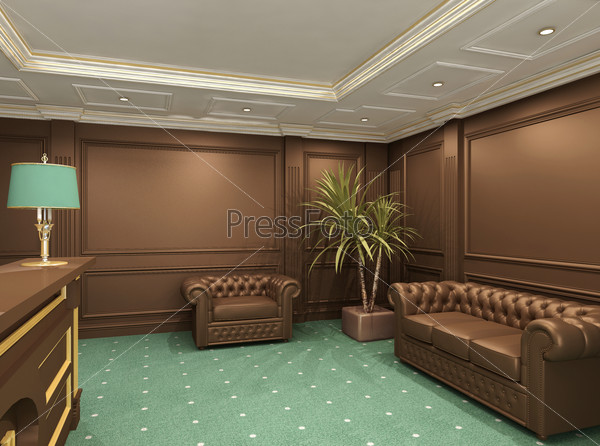 Perspective of reception hall with comfortable seats