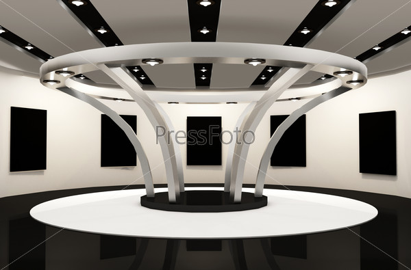 Gallery space with empty frames. Round Construction architecture