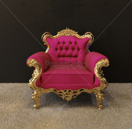 Luxury armchair with golden frames and royal chandelier in inter