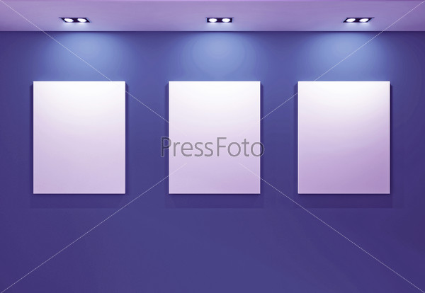 Gallery Interior with empty frames on purple wall
