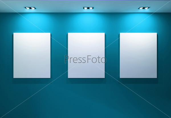 Gallery Interior with empty frames on aqua wall
