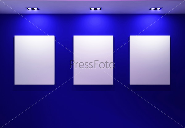 Gallery Interior with empty frames on dark blue wall