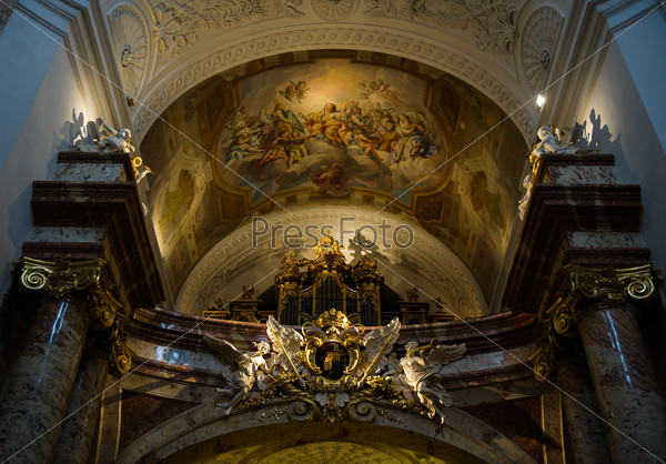 Inside of The St. Charles's Church (Karlskirche) in Vienna
