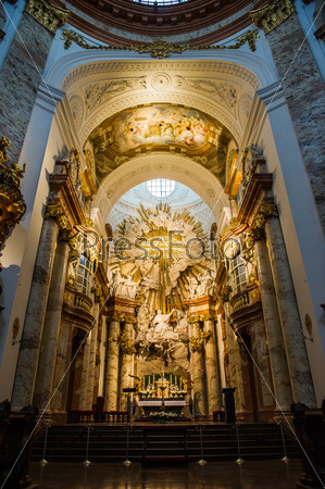 Altar at St. Charles church (Karlskirche) in Vienna