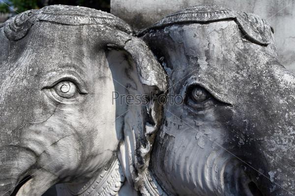 Detail of sculptures of elephants