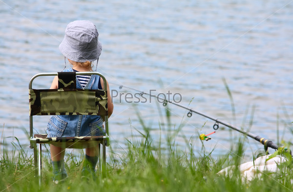 Little boy with fishing rod
