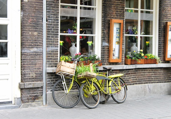Two bicycle near the store. Den Bosch. Netherlands
