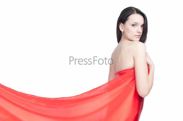 Портрет молодой девушки в красном