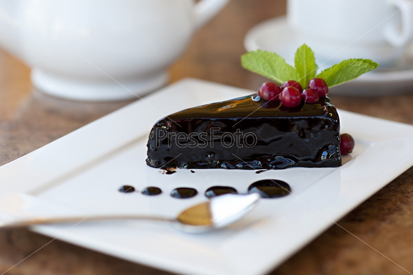 chocolate cake on a plate. Dessert