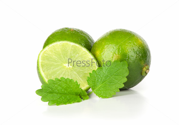 Fresh ripe lime. Isolated on white background