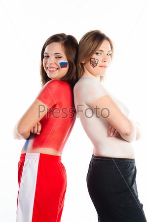 Молодые спортивные болельщицы