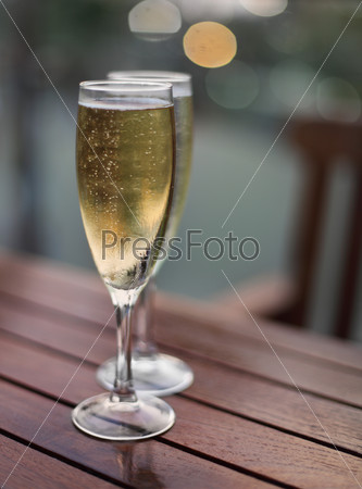Champagne in the glasses on the table