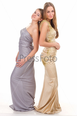 Two rival girls in gold and silver dress