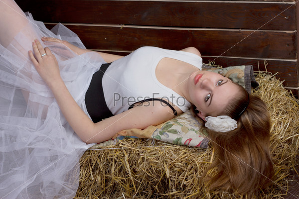 original wedding - bride in the hay
