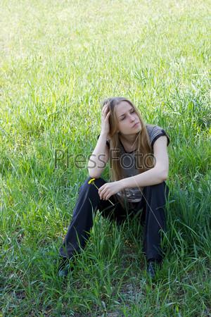 girl on dandelion