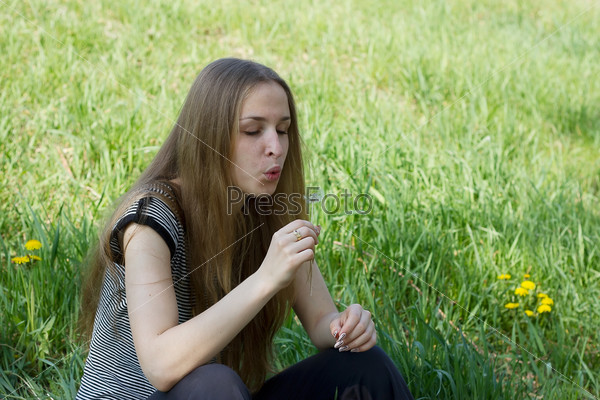 girl on dandelion