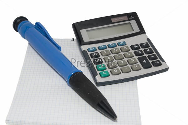 Calculator pen and notebook