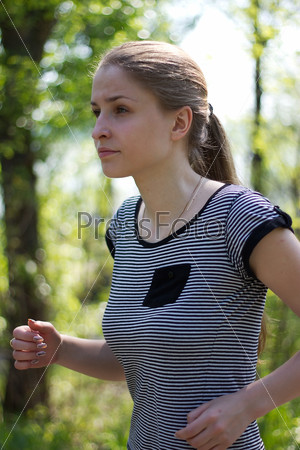 attractive woman running