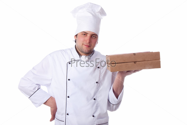 male chef holding a pizza box
