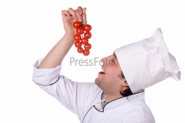 Cook man has cherry tomatoes
