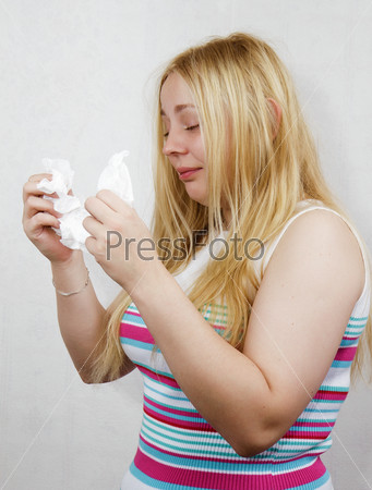cold blonde girl with the handkerchief