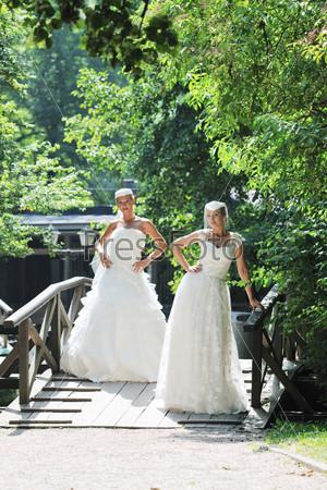 Две невесты в парке в летний день