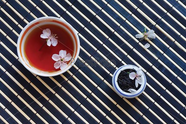 Чашка чая и листья