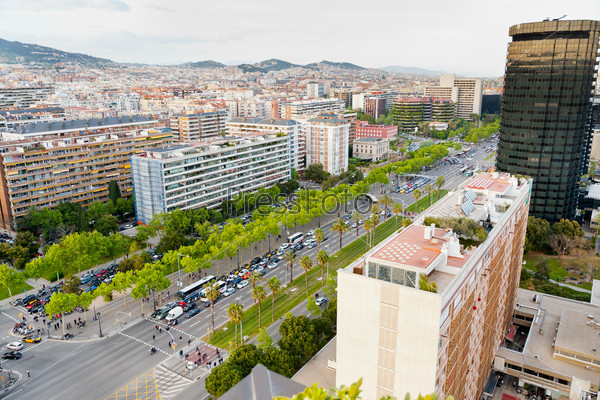 view on avenue Diagonal in Barcelona