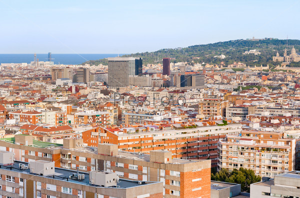 view on Barcelona and hill Montjuich