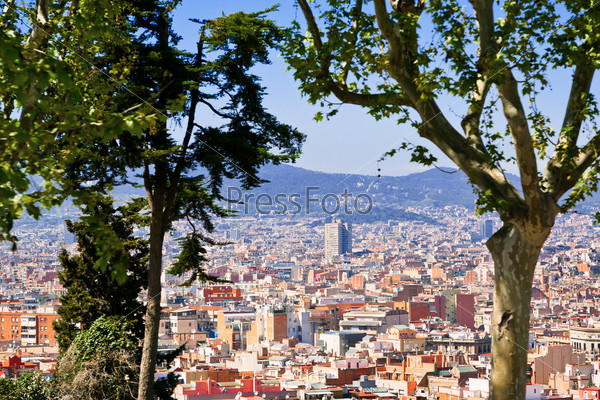 panorama of Barcelona city from Montjuic hill