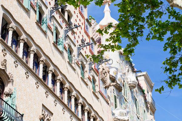 facades of Casa Batllo and Casa Ametller in Barcelona