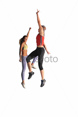 two womans work out and jumping
