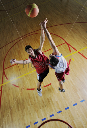 playing basketball game