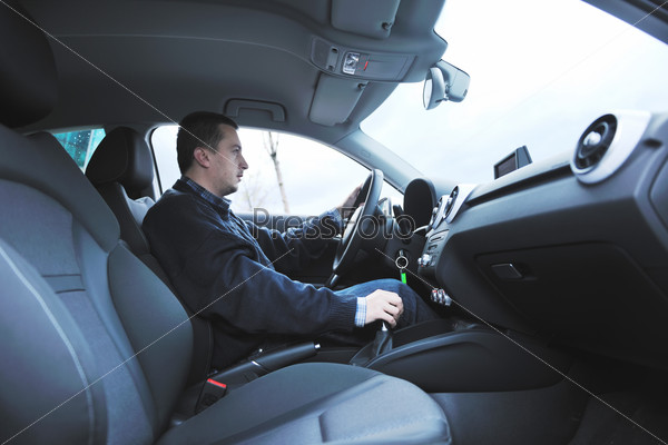 man using car navigation