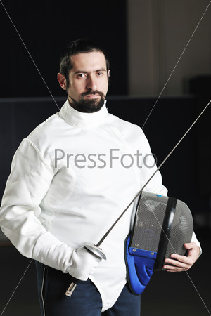 sword sport athlete portrait at training