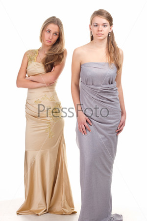 Hall envious friends - two girls in dresses