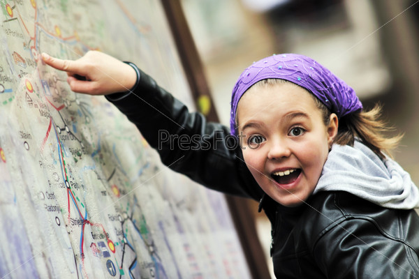 girl with city map panel