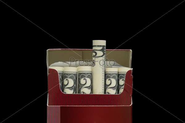 money and cigarettes on the black background