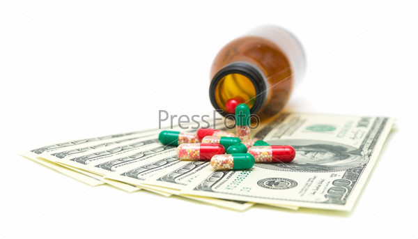 medical drugs into U.S. dollars on a white background