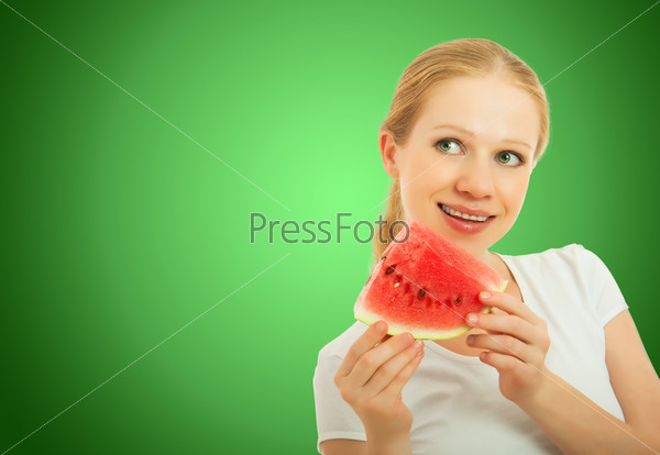 healthy pretty girl with a slice of watermelon
