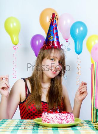 Birthday. Young fun happy girl