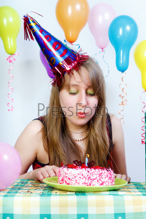 Birthday. attractive young girl
