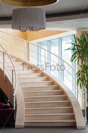 Modern staircase in hotel foyer