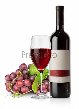 Dark blue grapes and red wine