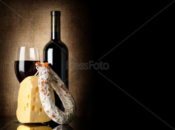 Wine, cheese and salami