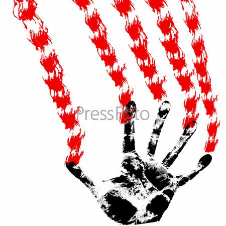 Кровавые руки на мокрое стекло, окна кровавый отпечаток кровавые ... | 450x450
