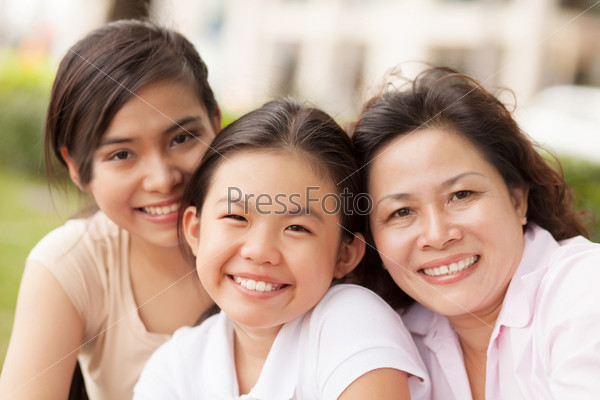 Granddaughters and grandmother