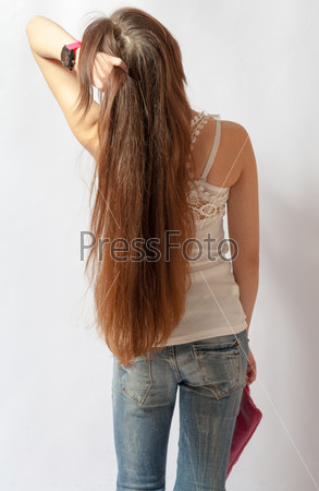 Фото женщины с длинными волосами спиной