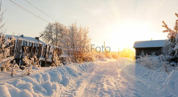 Фотография на тему Зимняя дорога и деревья в снегу