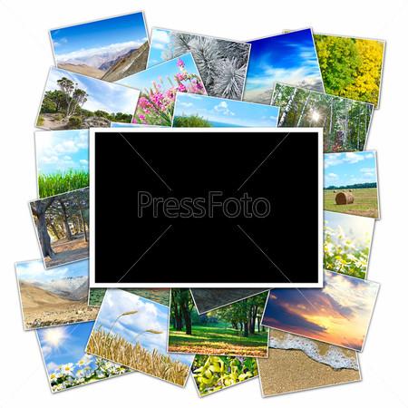 Рамка для фото на фоне множества фотографий природы